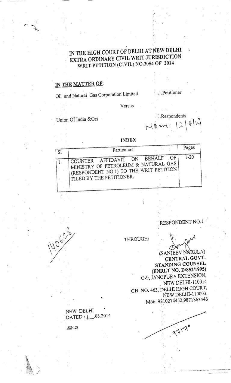 Counter Affidavit By Respondent 1 Ministry Of Petroleum And Natural
