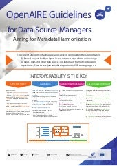 OpenAIRE Guidelines for Data Source Managers aiming for Metadata Harmonization (#OAI9 poster)