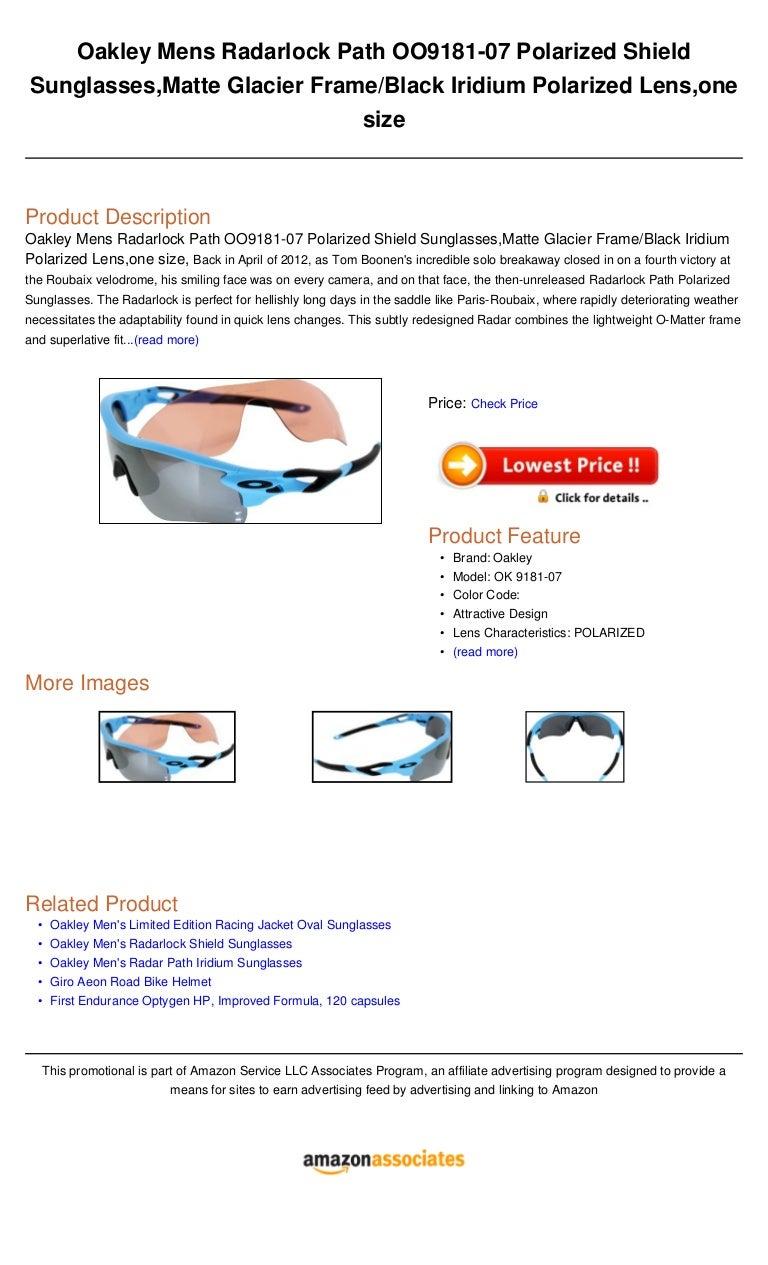 67bcf96f02 Oakley mens radarlock path oo9181 07 polarized shield sunglasses