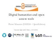 Digital humanities and open access tools