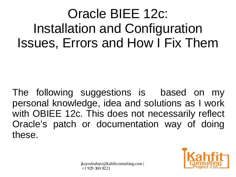 Oracle BIEE configuration issues