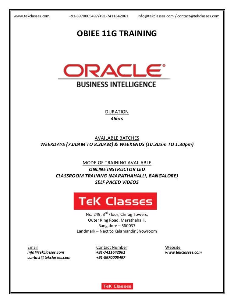 Obiee 11g course content, obiee training, obiee online