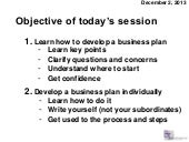 Objective and schedule for a six-hour business plan development workshop in India