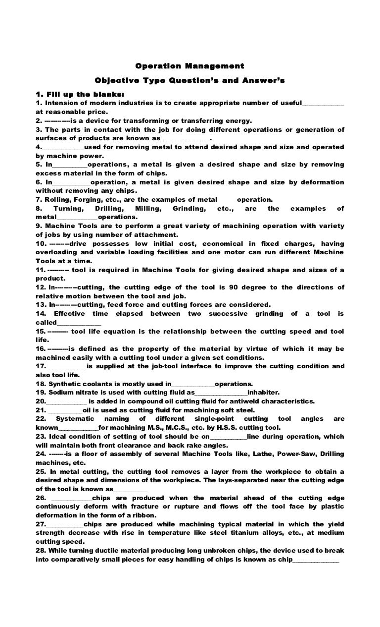 operations management essay questions and answers Welcome to operations management operations managementis important, exciting, challenging, and everywhere your look important, because it's concerned with creating all of the products and services upon.