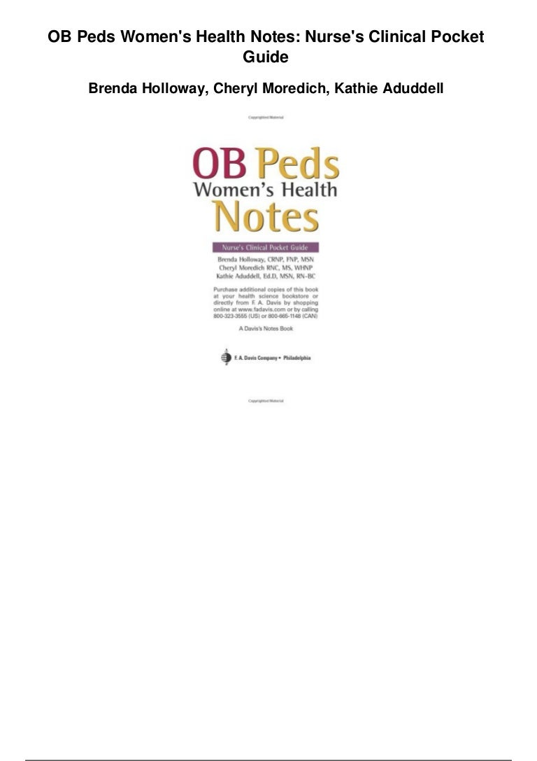 Ob peds womens health notes nurses clinical pocket guide pdf