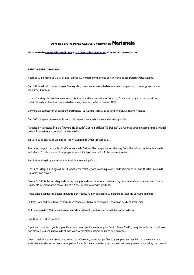 Obra De Benito Perez Galdos Y Resumen De Marianela