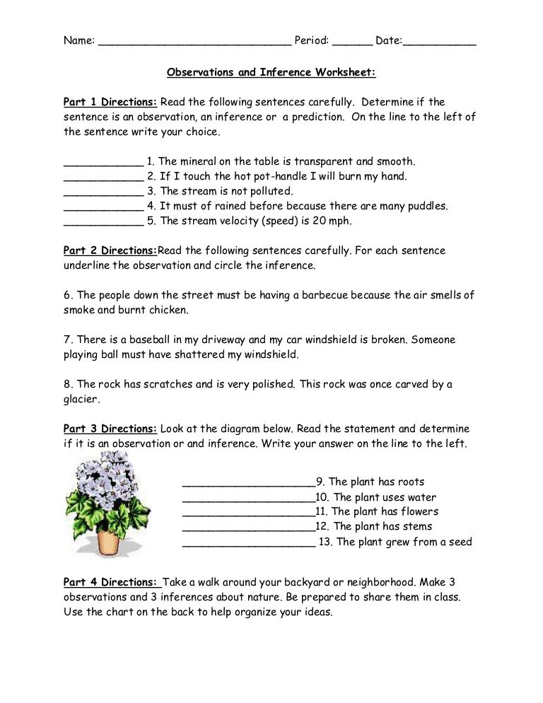 Printables Observations And Inferences Worksheet observations and inference worksheet