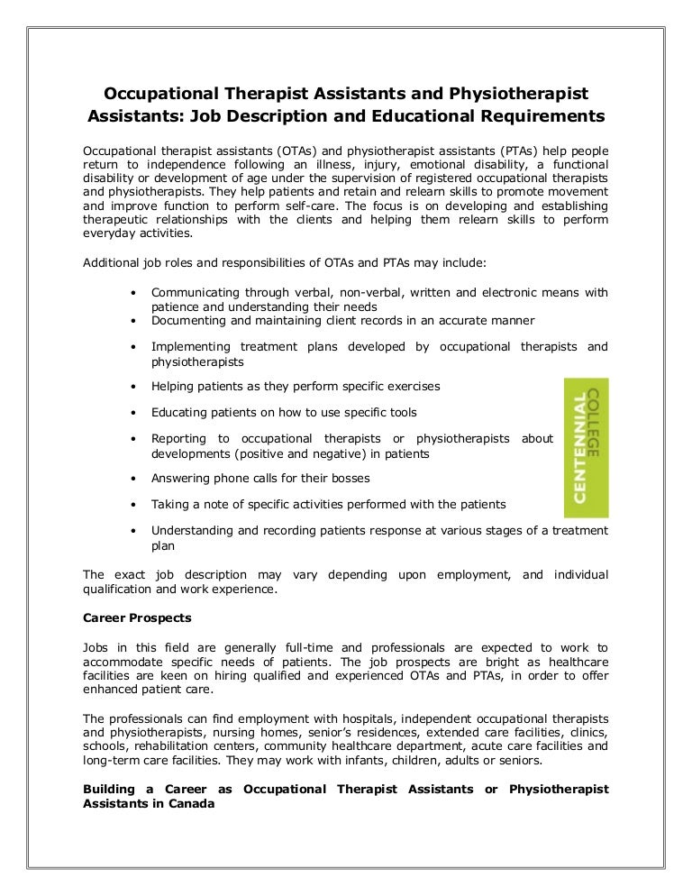 Occupational Therapist Assistants And Physiotherapist Assistants Job …