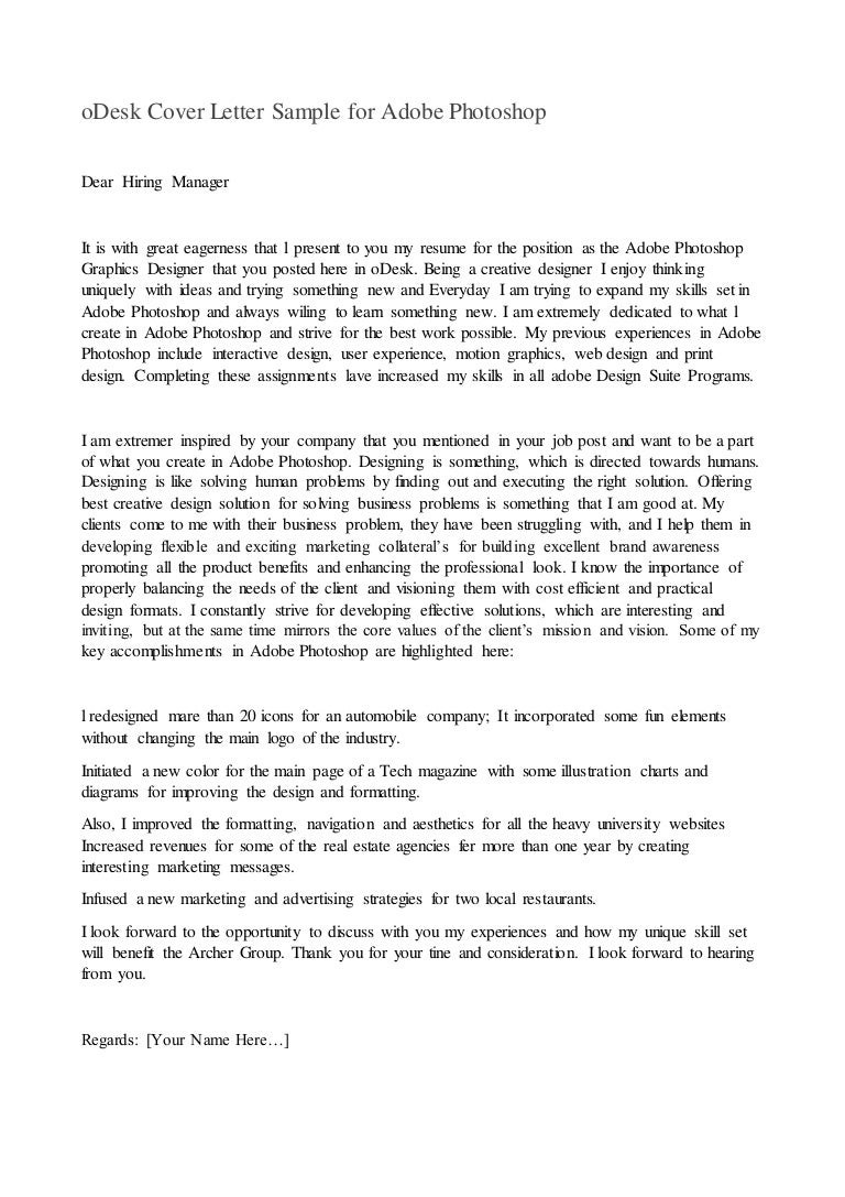 odesk cover letter for photoshop