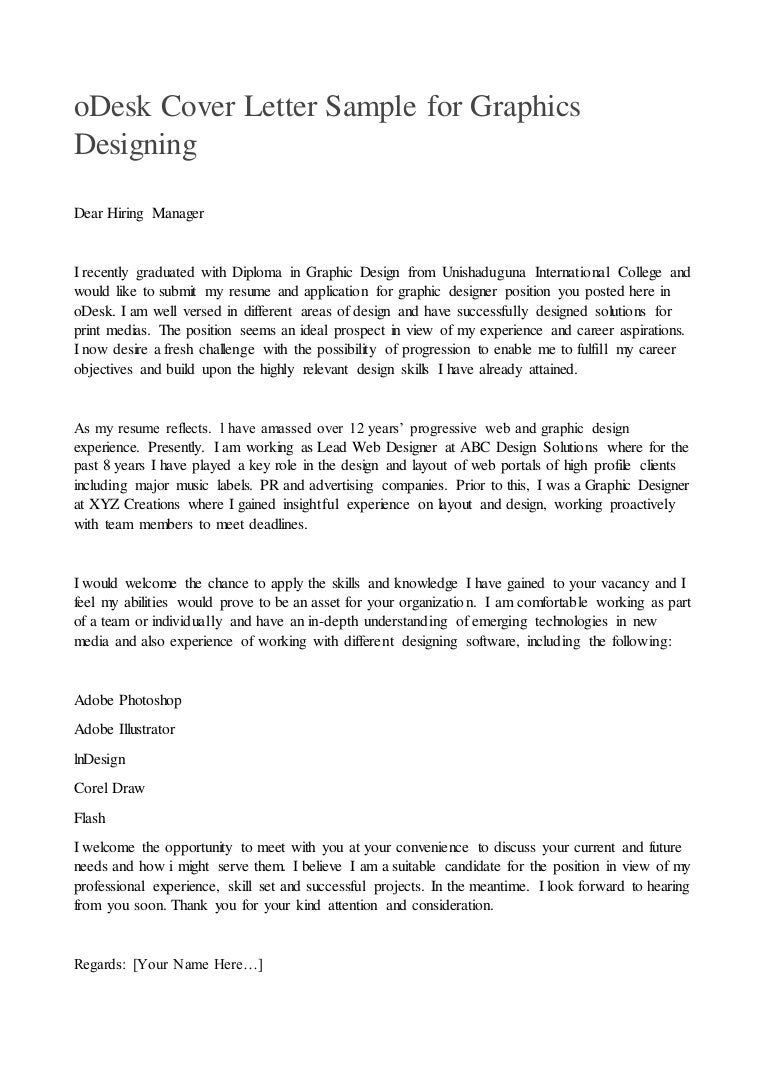 Odesk Cover Letter For Graphics Designing Job