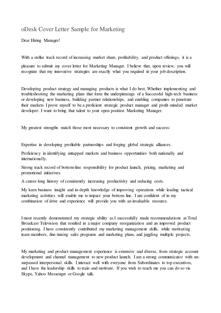 Cover Letter For Product Manager Odesk Sample Marketing