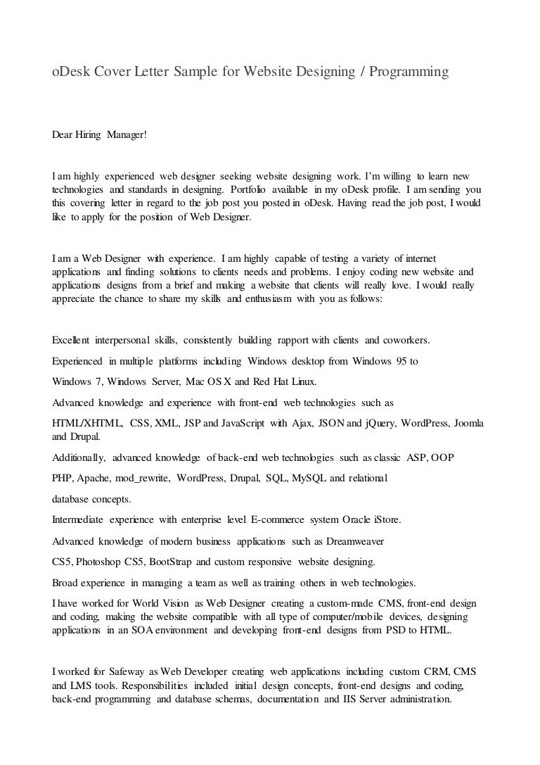 odesk cover letter sample for website designing or programming - Cover Letter For Web Designer