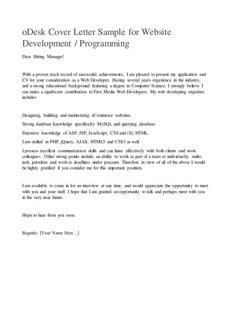 Odesk Cover Letter Gallery - Cover Letter Ideas