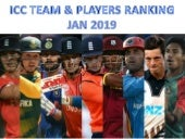 ODI T20 & Test team and players ranking jan 2019