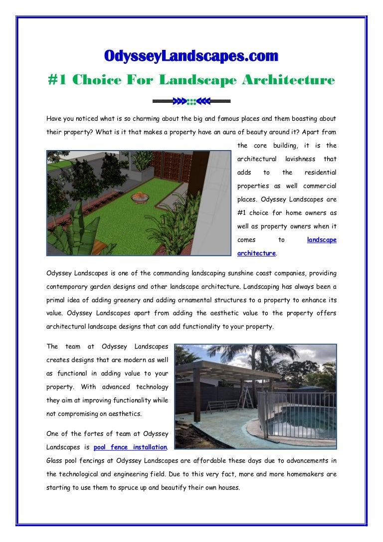 Odyssey Landscapes 1 Choice For Landscape Architecture