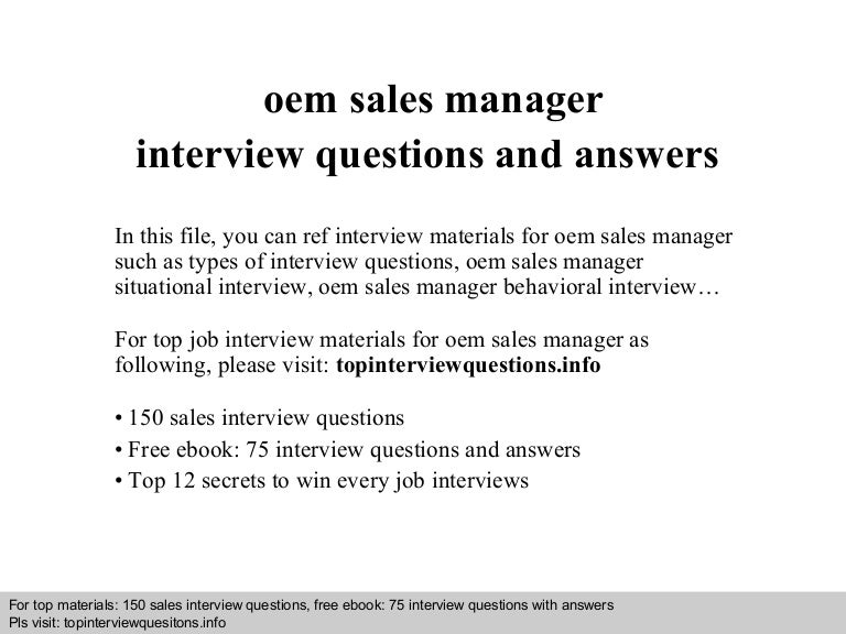 oem sales manager interview questions and answers