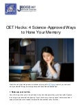 OET Hacks: 4 Science-Approved Ways to Hone Your Memory