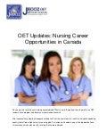 OET Updates: Nursing Career Opportunities in Canada