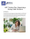 OET Training Tips: Organizing a Strong Letter Structure