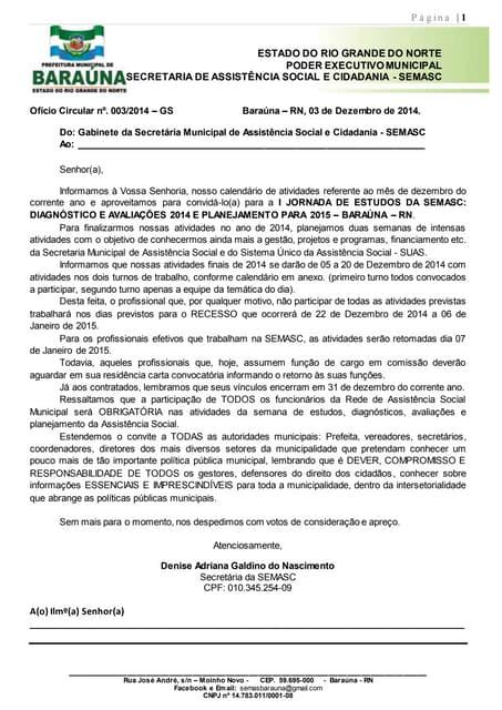 Ofício circular nº 003 jornada de estudos da SEMASC / Baraúna