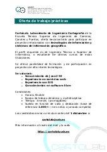 Oferta de trabajo en Cartolab para programador