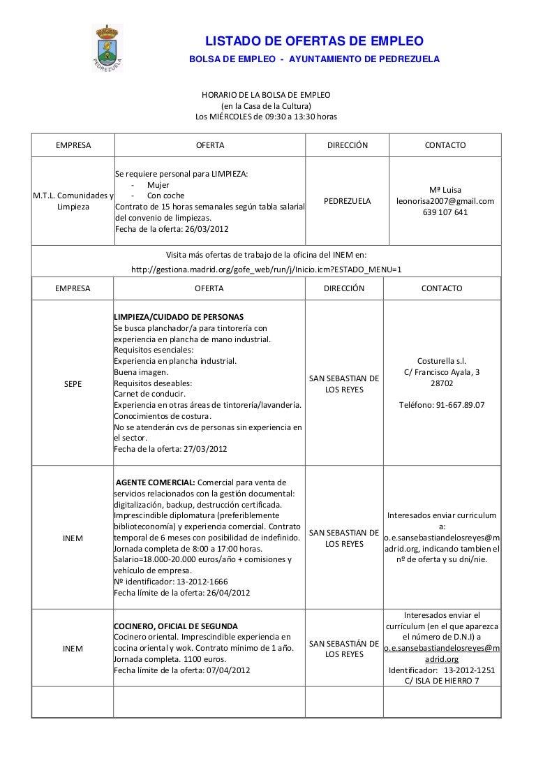 Ofertas de empleo actualiado 3 de abril de 2012 Pedrezuela