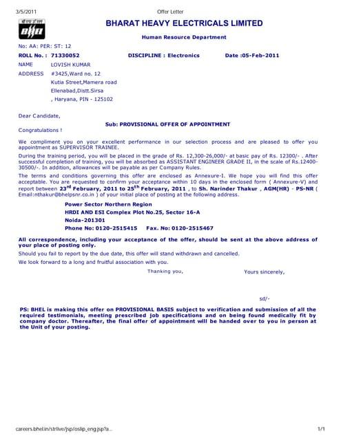 Hrd no 5 offer letter sample spiritdancerdesigns Images