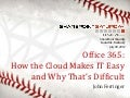 Office 365 - Why the Cloud Makes IT Easy and Why That's Difficult - SPS Louisville 2012