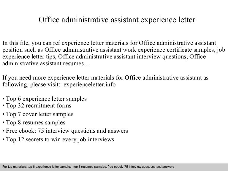 officeadministrativeassistantexperienceletter 140831113703 phpapp01 thumbnail 4jpgcb1409485050 - Office Assistant Interview Questions And Answers