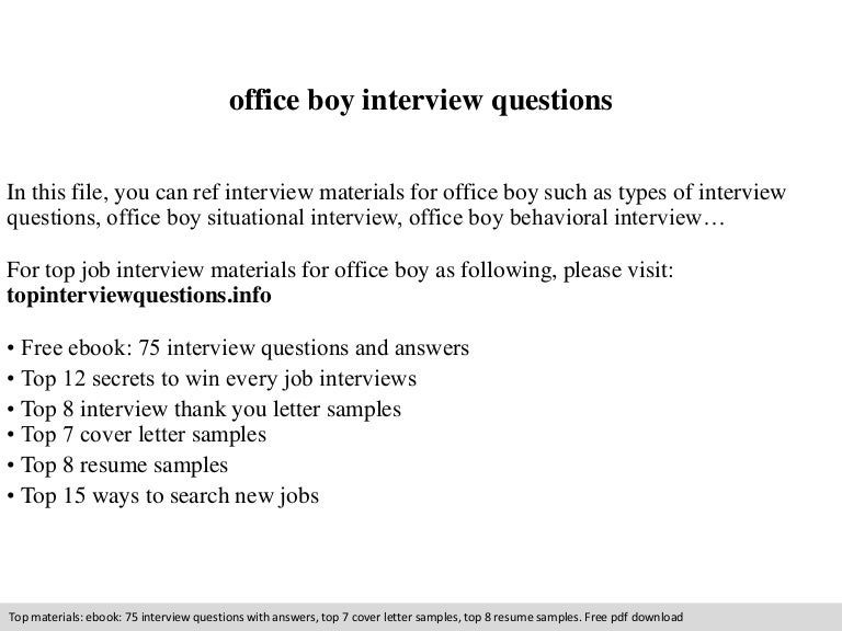 Office boy interview questions