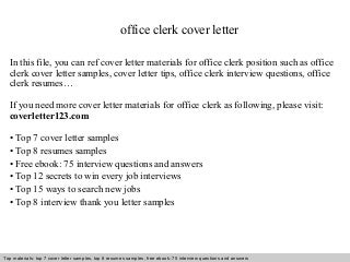 office clerk cover letter. Resume Example. Resume CV Cover Letter