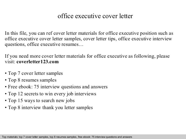 Office executive cover letter
