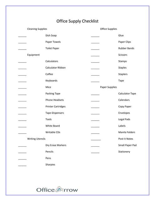 office supplies checklist printable