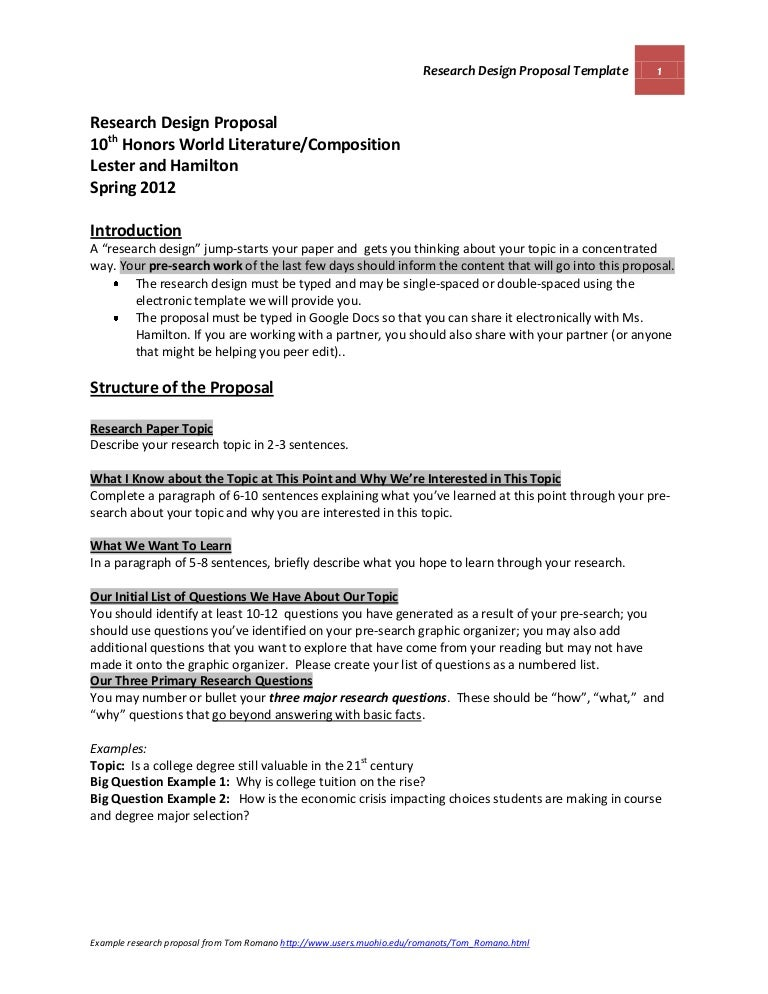 Official Research Design Proposal Template And Guidelines Lester And
