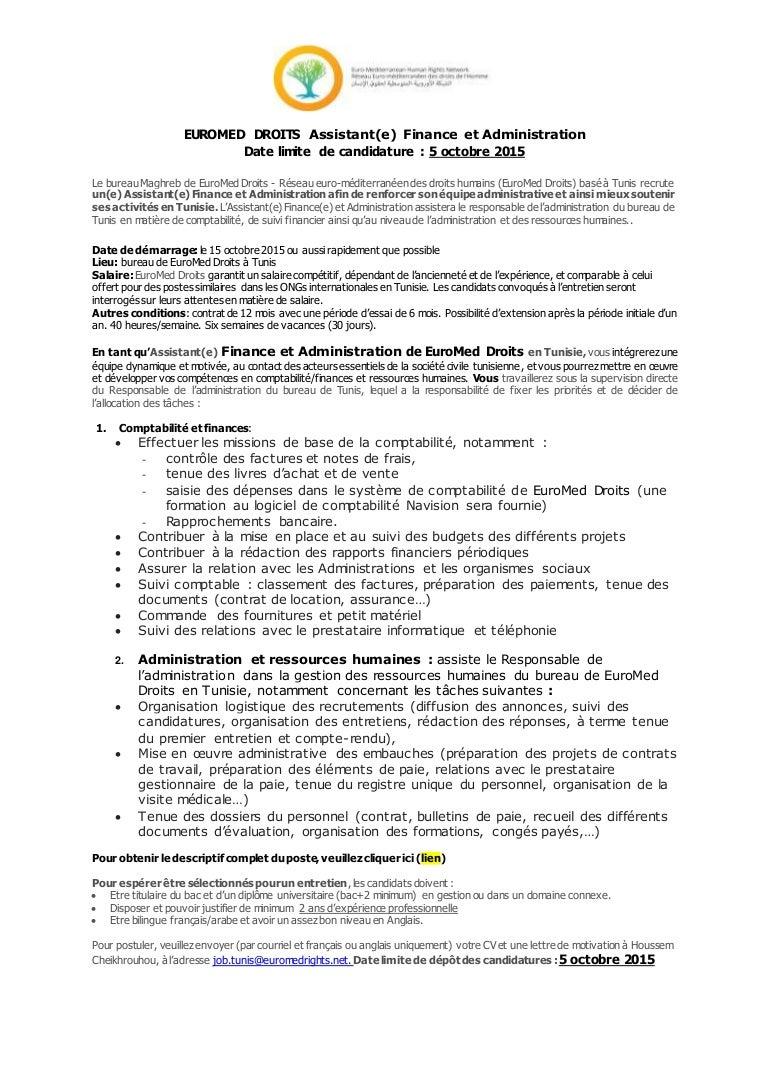 Offre D Emploi Assistant Finance Et Administration Remdh Tunis