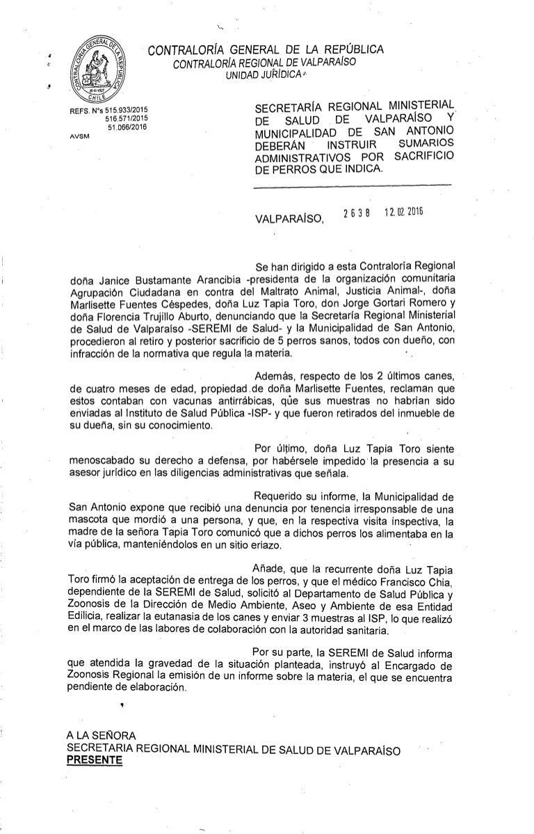 DICTÁMEN CONTRALORÍA POR MATANZAS EN SAN ANTONIO 2638/enero 2016