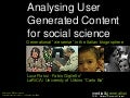 "Analysing User Generated Content for social science. Generational ""we sense"" in the Italian blogosphere"