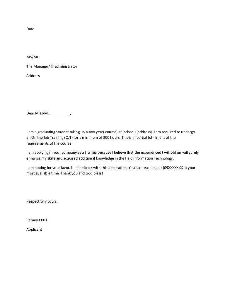 Sample Of Simple Application Letter For Ojt - Application letter for