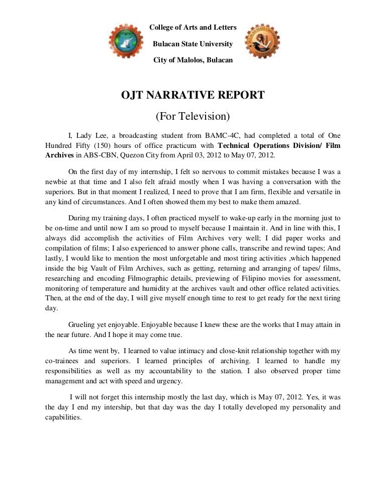 internship narrative report