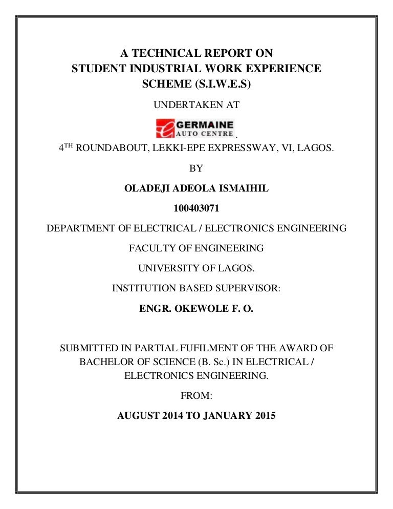 Siwes Technical Report By Oladeji Adeola