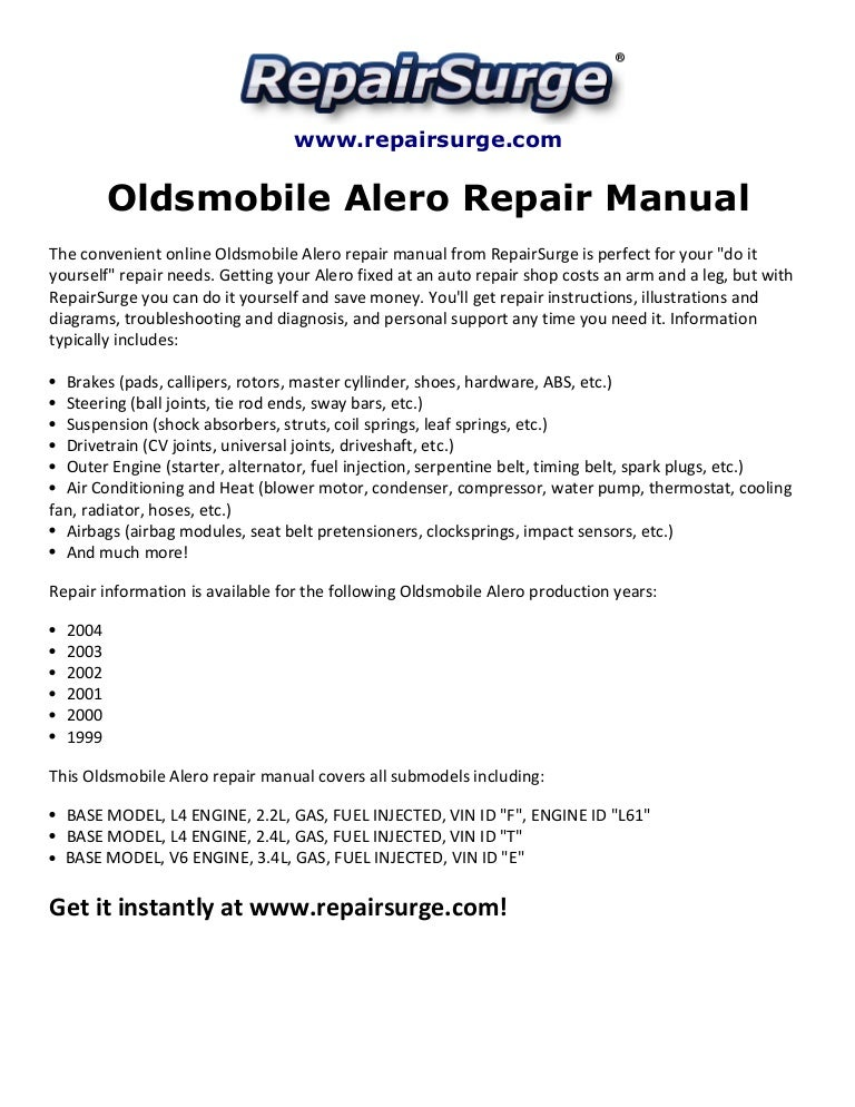 2000 alero engine diagram oldsmobile alero repair manual 1999 2004  oldsmobile alero repair manual 1999 2004