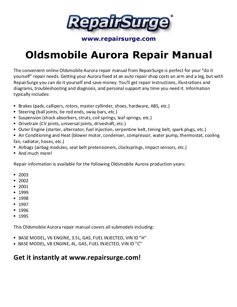 oldsmobile aurora repair manual 1995 2003 oldsmobile aurora repair manual 1995 2003