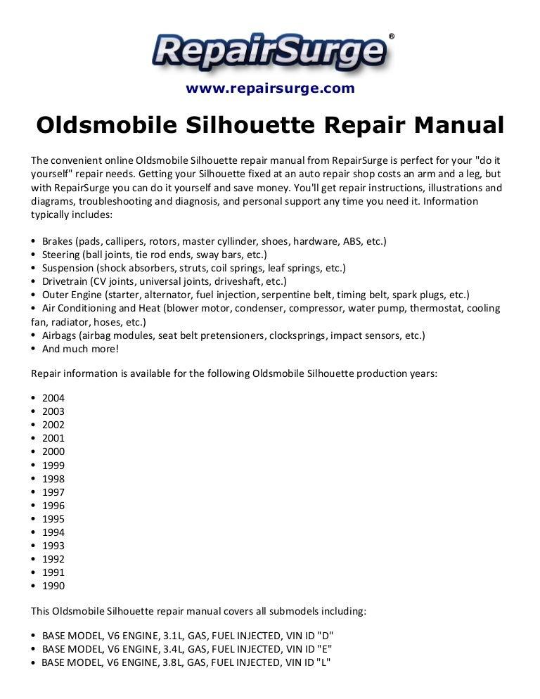 Oldsmobile Silhouette Repair Manual 1990-2004 on