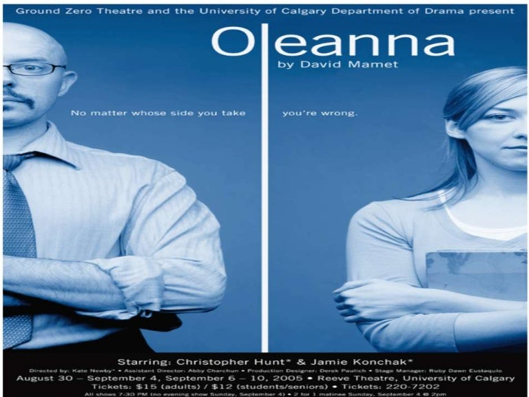 an analysis of uncontrollable everyday events in oleanna by david mamet Aimee o'connell enwr 106-40 oleanna reflection when beginning to read the play oleanna by david mamet, i expected a more classic and shakespearean feel given the title- one might think of in oleanna and educating rita, both willy russell and david mamet explore the effects of transformation.