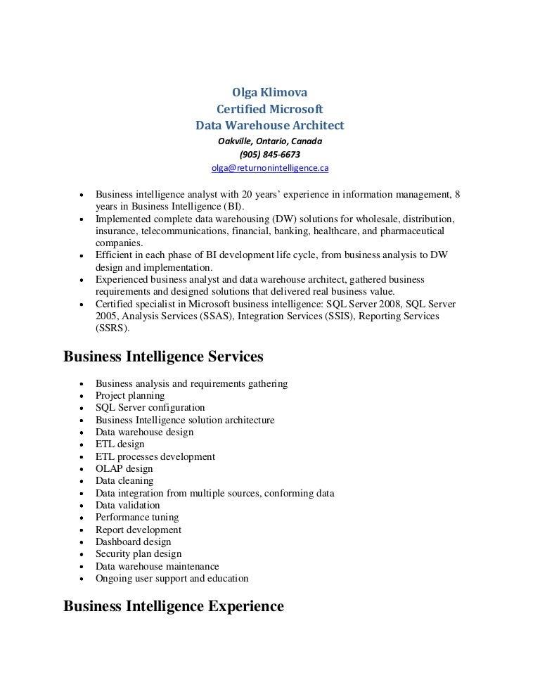 Olga Klimova - Data Warehouse Resume