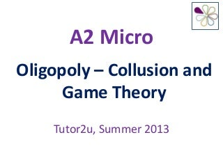 Oligopoly Collusion and Game Theory
