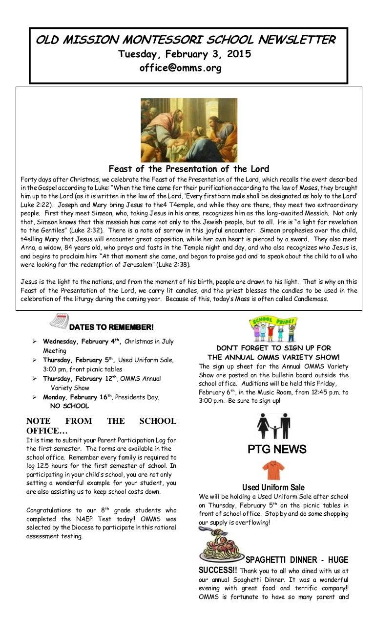 Parish School News for February 3-2015