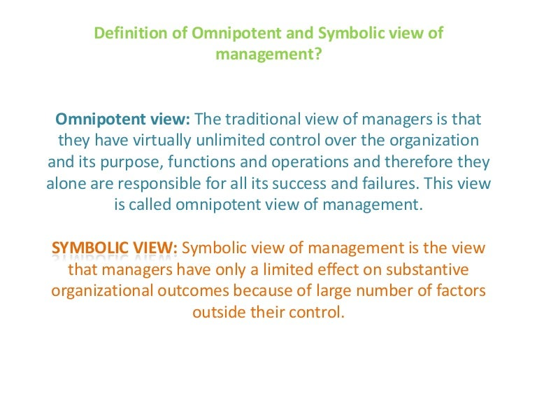 Omnipotent And Symbolic View Of Mgt 1