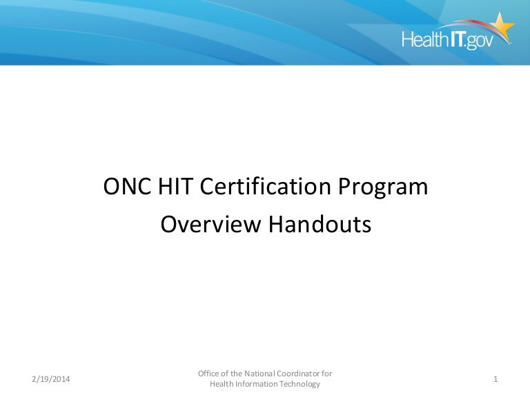 Onc Health It Certification Program