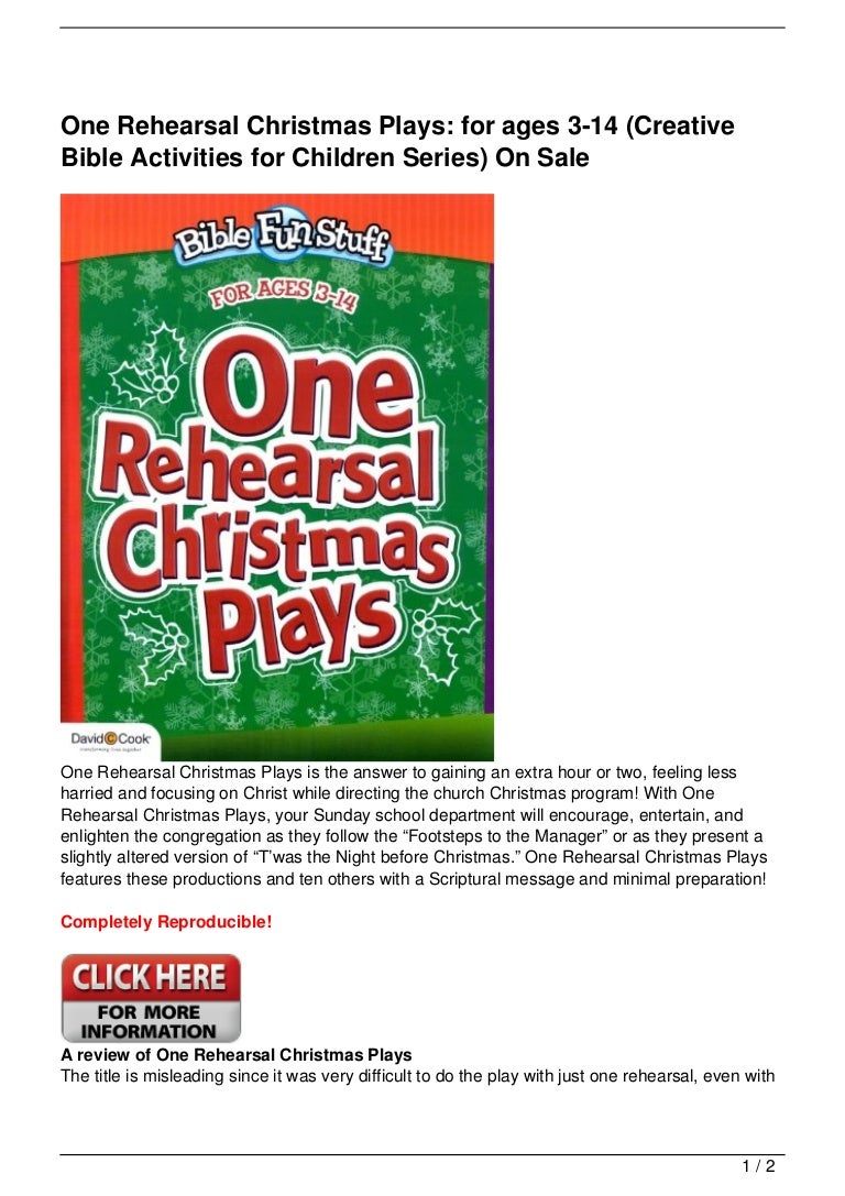One Rehearsal Christmas Plays: for ages 3-14 (Creative Bible Activiti…
